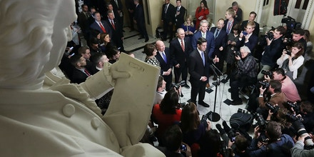 WASHINGTON, DC - DECEMBER 19:  Speaker of the House Paul Ryan (R-WI) (C) is joined by House Republican leaders while talking to reporters following passage of the Tax Cuts and Jobs Act in the Will Rogers Corridor at the U.S. Capitol December 19, 2017 in Washington, DC. The House passed the tax cut legislation 227-203 and the bill now goes to the Senate where a vote scheduled for Tuesday or Wednesday.  (Photo by Chip Somodevilla/Getty Images)
