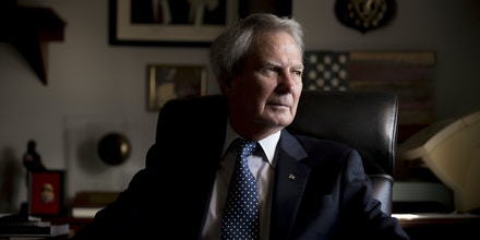 Rep. Walter Jones, R-N.C. poses for a portrait in his office on Capitol Hill, Wednesday, Oct. 25, 2017, in Washington. As President Trump argued about what he said to the family of a soldier killed in Niger, a North Carolina congressman was quietly doing what he's done more than 11,000 times: signing a condolence letter to that family and others. Republican Rep. Walter Jones began signing the letters to families in 2003 as penance for his 2002 vote supporting war in Iraq. (AP Photo/Andrew Harnik)