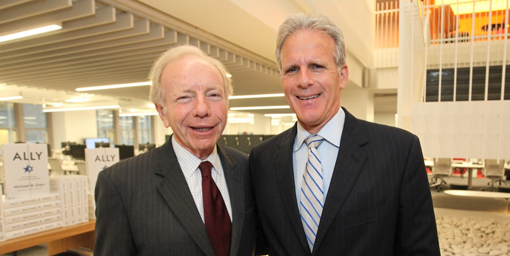 "NEW YORK, NY - JUNE 18:  (L-R) Former Senator Joe Lieberman and Knesset member Michael Oren attend the book release party for Michael Oren's ""Ally: My Journey Across the American-Israeli Divide"" at Gerson Lehrman Group on June 18, 2015 in New York City.  (Photo by Donald Bowers/Getty Images for GLG)"
