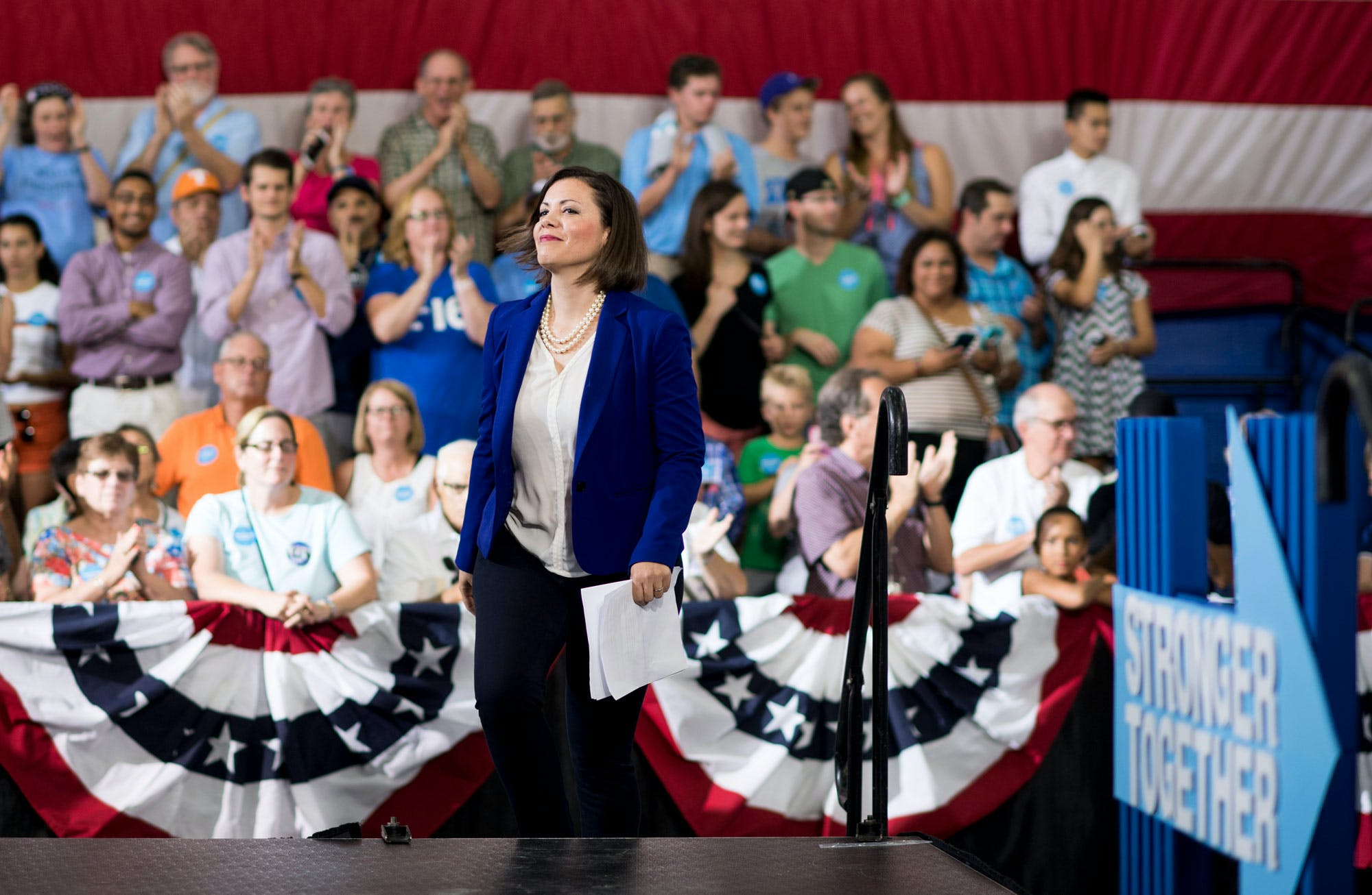 UNITED STATES - AUGUST 30: Candidate for U.S. Congress Christina Hartman, D-Pa., speaks during the Democratic nominee for Vice President Sen. Tim Kaine, D-Va., campaign rally at the Boys & Girls Club in Lancaster, Pa., on Tuesday, Aug. 30, 2016. (Photo By Bill Clark/CQ Roll Call) (CQ Roll Call via AP Images)