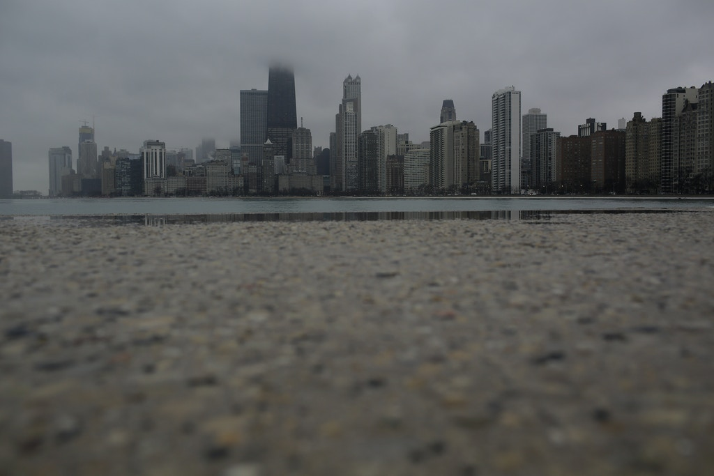 The Chicago skyline stands along Lake Michigan Thursday, January 11, 2018 in Chicago, Illinois. Chicago, Which is a sanctuary city has seen a number of U.S. Immigration and Customs Enforcement arrest across the city. Celene Adame's husband Wilmer Catalan-Ramirez was arrested by U.S. Immigration and Customs Enforcement after they showed up at his home last year in March. Catalan-Ramirez has been separated from his family and detained since his arrest. Photo by Joshua Lott for The Intercept