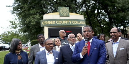 The Rev. Ronald Slaughter and clergy express concerns about Essex County College, which is in danger of losing its accreditation, in Newark, N.J., Aug. 31, 2017. The school's top two administrators have accused each other of misusing funds, just the latest episode in years of turmoil following the resignation of Essex's longtime president, A. Zachary Yamba. (Yana Paskova/The New York Times)