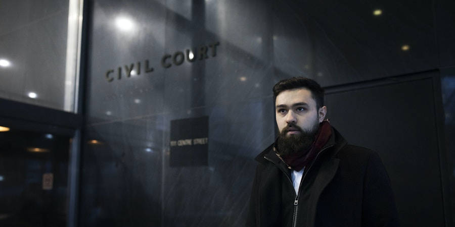 Ahmad Awad, a Fordham University student, after his hearing at the Manhattan Civil Courthouse in New York City, on Jan. 3, 2018. Awad and three other students have filed a case against the university in an ongoing effort to have their club, Students for Justice in Palestine (SJP), recognized.