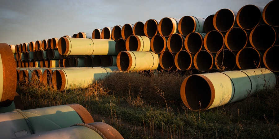 GASCOYNE, ND - OCTOBER 14:  Miles of unused pipe, prepared for the proposed Keystone XL pipeline, sit in a lot on October 14, 2014 outside Gascoyne, North Dakota.  (Photo by Andrew Burton/Getty Images)