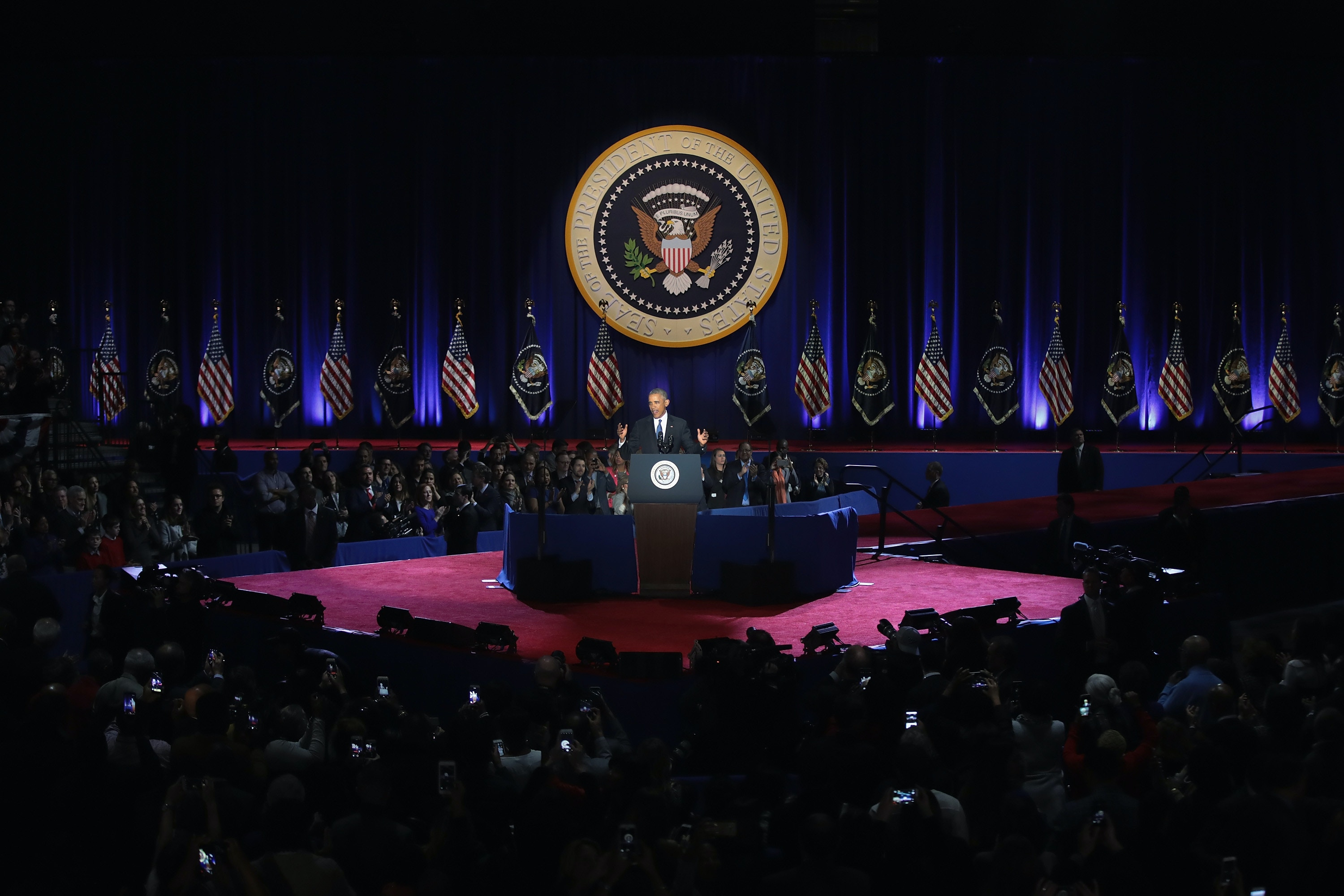 CHICAGO, IL - JANUARY 10:  President Barack Obama delivers a farewell speech to the nation on January 10, 2017 in Chicago, Illinois. President-elect Donald Trump will be sworn in the as the 45th president on January 20.  (Photo by Scott Olson/Getty Images)