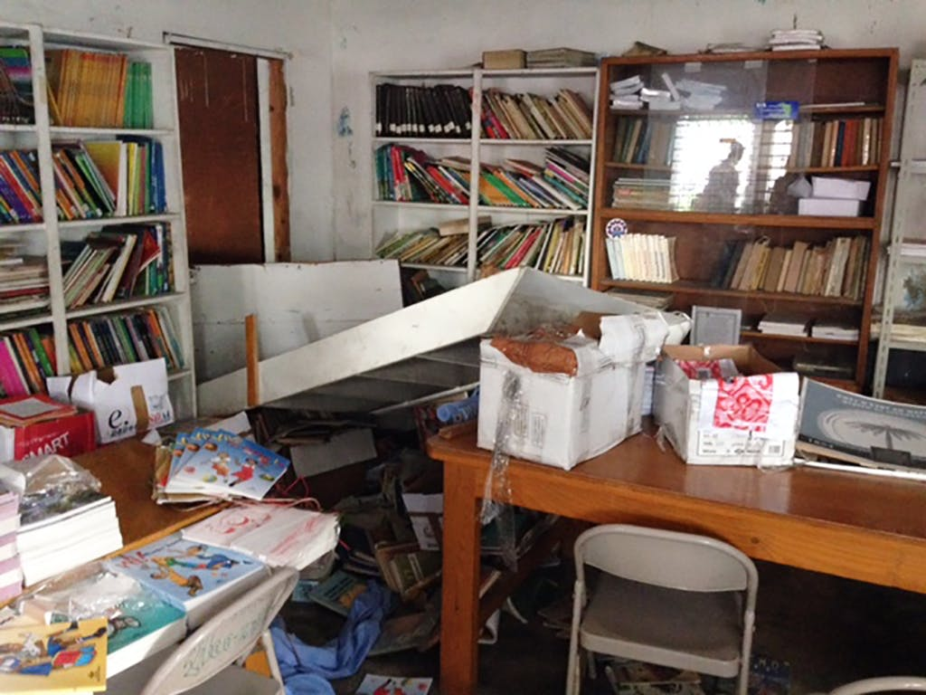 Ransacked school room at Maranatha campus in Port-au-Prince, on Nov. 17, 2017.