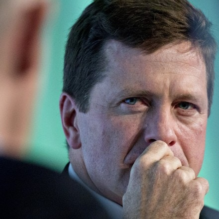 Jay Clayton, chairman of the U.S. Securities and Exchange Commission (SEC), listens to a question during an interview at the Securities Industry And Financial Markets Association (SIFMA) annual meting in Washington, D.C., U.S., on Tuesday, Oct. 24, 2017. Clayton said the SEC and Commodity Futures Trading Commission (CFTC) are working together on Markets in Financial Instruments Directive (MiFID II) and swaps rules. Photographer: Andrew Harrer/Bloomberg via Getty Images