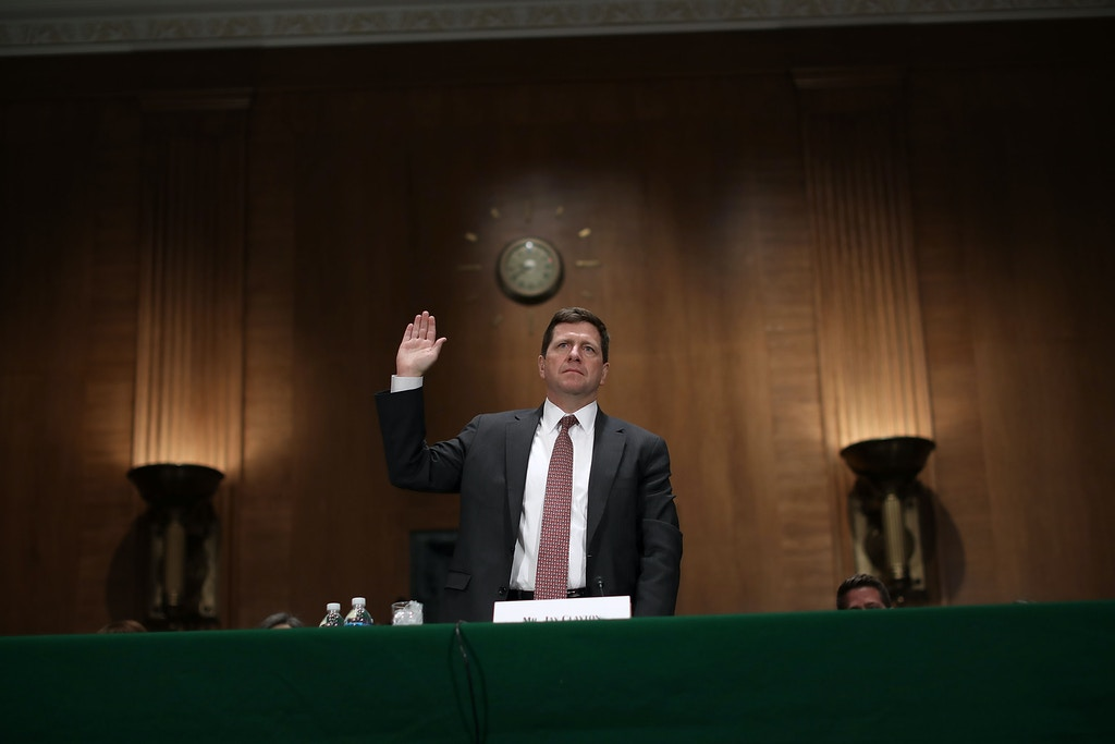 WASHINGTON, DC - MARCH 23:  Jay Claton is sworn in before the Senate Banking Committee during his confirmation hearing to be chairman of the Securities and Exchange Commission in the Dirksen Senate Office Building on Capitol Hill March 23, 2017 in Washington, DC. Nominated by U.S. President Donald Trump to lead the SEC, Clayton was questioned by senators about his years representing large banks like Goldman Sachs, Barclays, Deutsche Bank and other Wall Street companies.  (Photo by Chip Somodevilla/Getty Images)