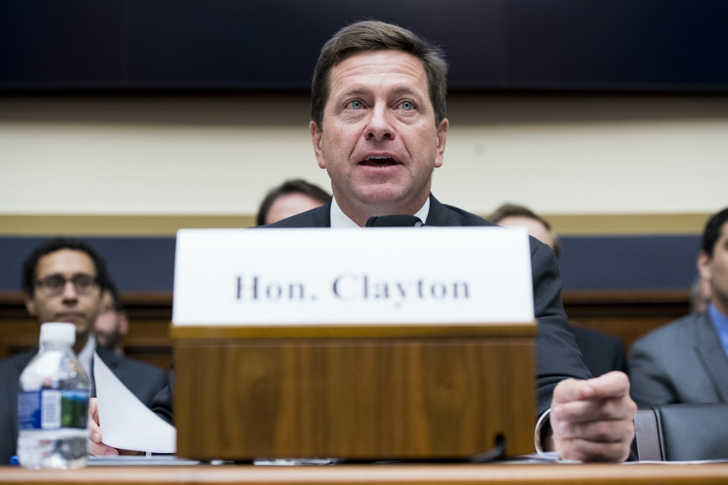 "UNITED STATES - OCTOBER 4: SEC Chairman Jay Clayton testifies during the House Financial Services Committee hearing on ""Examining the SEC's Agenda, Operations, and Budget"" on Wednesday, Oct. 4, 2017.(Photo By Bill Clark/CQ Roll Call) (CQ Roll Call via AP Images)"