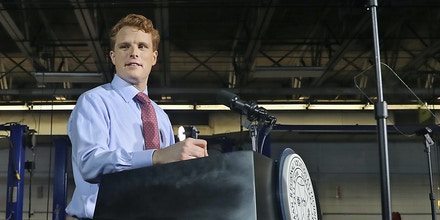 FALL RIVER, MA - JANUARY 30: U.S. Representative Joe Kennedy III delivers the Democratic response to President Donald Trump's State of the Union address from the Diman Regional Vocational Technical High School in Fall River, MA on Jan. 30, 2018. (Photo by Matthew J. Lee/The Boston Globe via Getty Images)