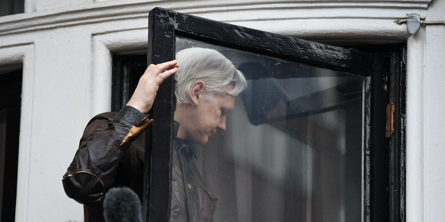 Wikileaks founder Julian Assange leaves after speaking to the media from the balcony of the Embassy of Ecuador in London on May 19, 2017.WikiLeaks founder Julian Assange on Friday hailed an