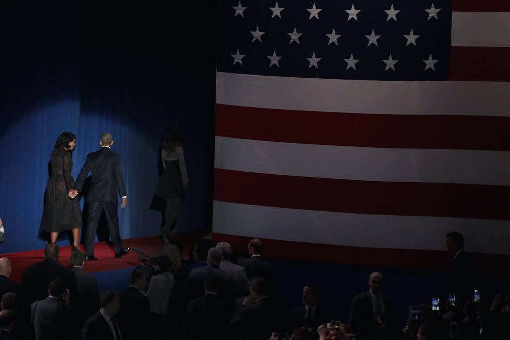 CHICAGO, IL - JANUARY 10:  President Barack Obama walks off stage with his wife Michelle and daughter Malia after delivering a farewell speech to the nation on January 10, 2017 in Chicago, Illinois. President-elect Donald Trump will be sworn in the as the 45th president on January 20.  (Photo by Scott Olson/Getty Images)