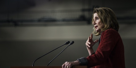 WASHINGTON, DC - JANUARY 11:  House Minority Leader Nancy Pelosi speaks during a weekly press conference on Capitol Hill on January 11, 2018 in Washington, DC. (Photo by Zach Gibson/Getty Images)