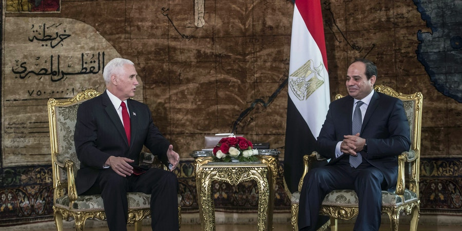 Egyptian President Abdel Fattah al-Sisi (R) meets with US Vice President Mike Pence (L) at the Presidential Palace in the capital Cairo on January 20, 2018. Pence arrived in Egypt to begin a delayed Middle East tour overshadowed by anger in the Arab world over Washington's recognition of Jerusalem as Israel's capital. / AFP PHOTO / POOL / KHALED DESOUKI (Photo credit should read KHALED DESOUKI/AFP/Getty Images)