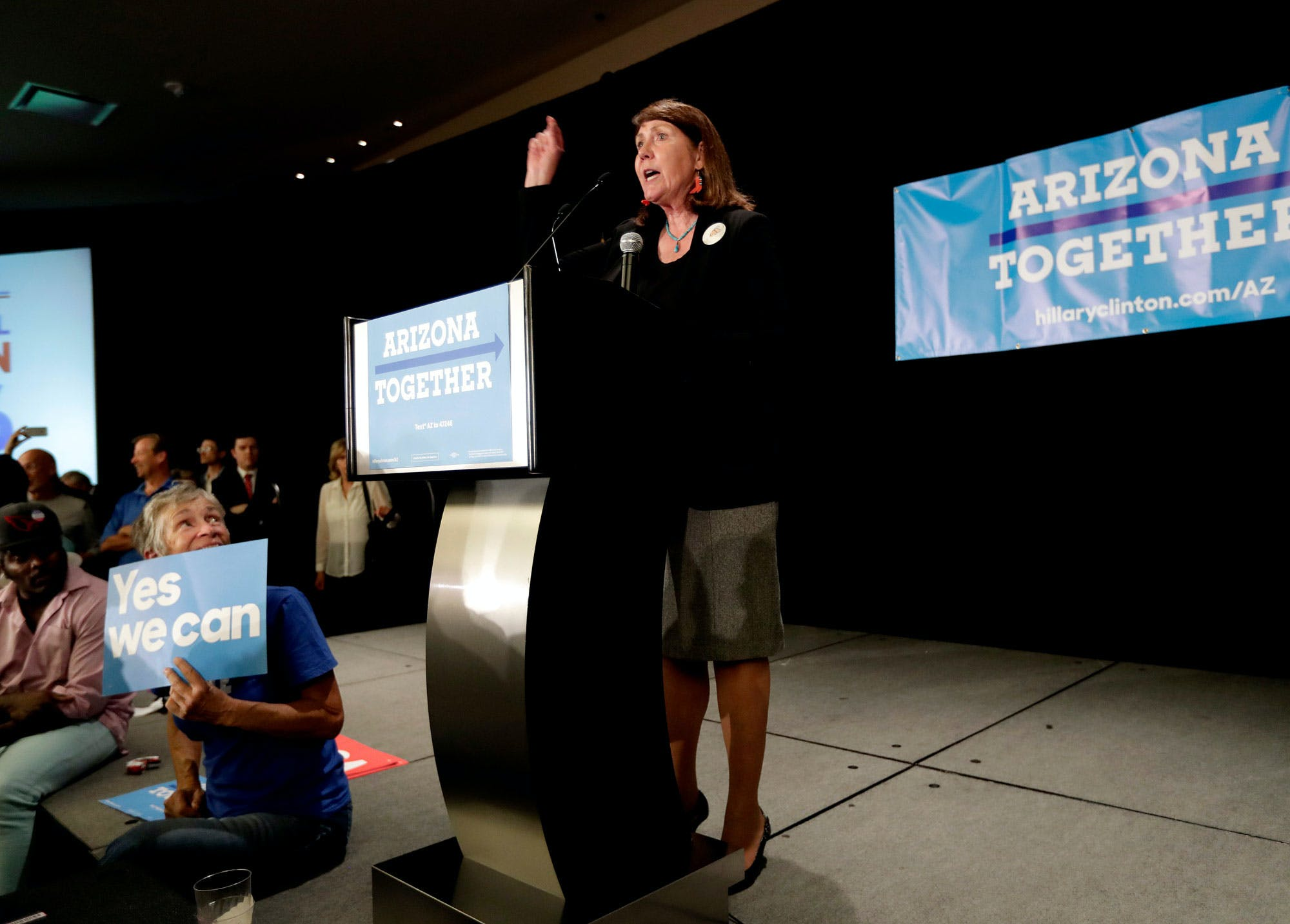 Democratic senatorial candidate U.S. Rep. Ann Kirkpatrick, D-Ariz., speaks to supporters during an election night party, Tuesday, Nov. 8, 2016, in Phoenix. Kirkpatrick is seeking to replace incumbent U.S. Sen. John McCain, R-Ariz. (AP Photo/Matt York)