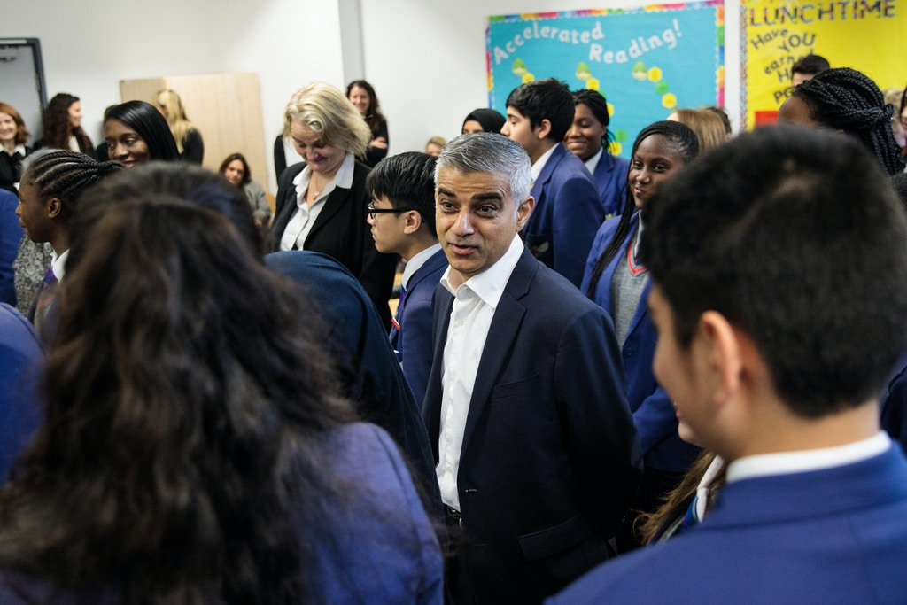 LONDON, ENGLAND - DECEMBER 18: London Mayor Sadiq Khan (C) attends an equality workshop with pupils at Platanos College to mark the launch of his campaign to celebrate women's equality on December 18, 2017 in London, England. 2018 will mark 100 years since women secured the right to vote in the UK following the suffrage movement. (Photo by Jack Taylor/Getty Images)