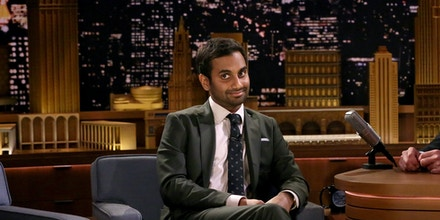 THE TONIGHT SHOW STARRING JIMMY FALLON -- Episode 0606 -- Pictured: (l-r) Comedian Aziz Ansari and host Jimmy Fallon during dramatic Yelp reviews on January 19, 2017 -- (Photo by: Andrew Lipovsky/NBC/NBCU Photo Bank via Getty Images)