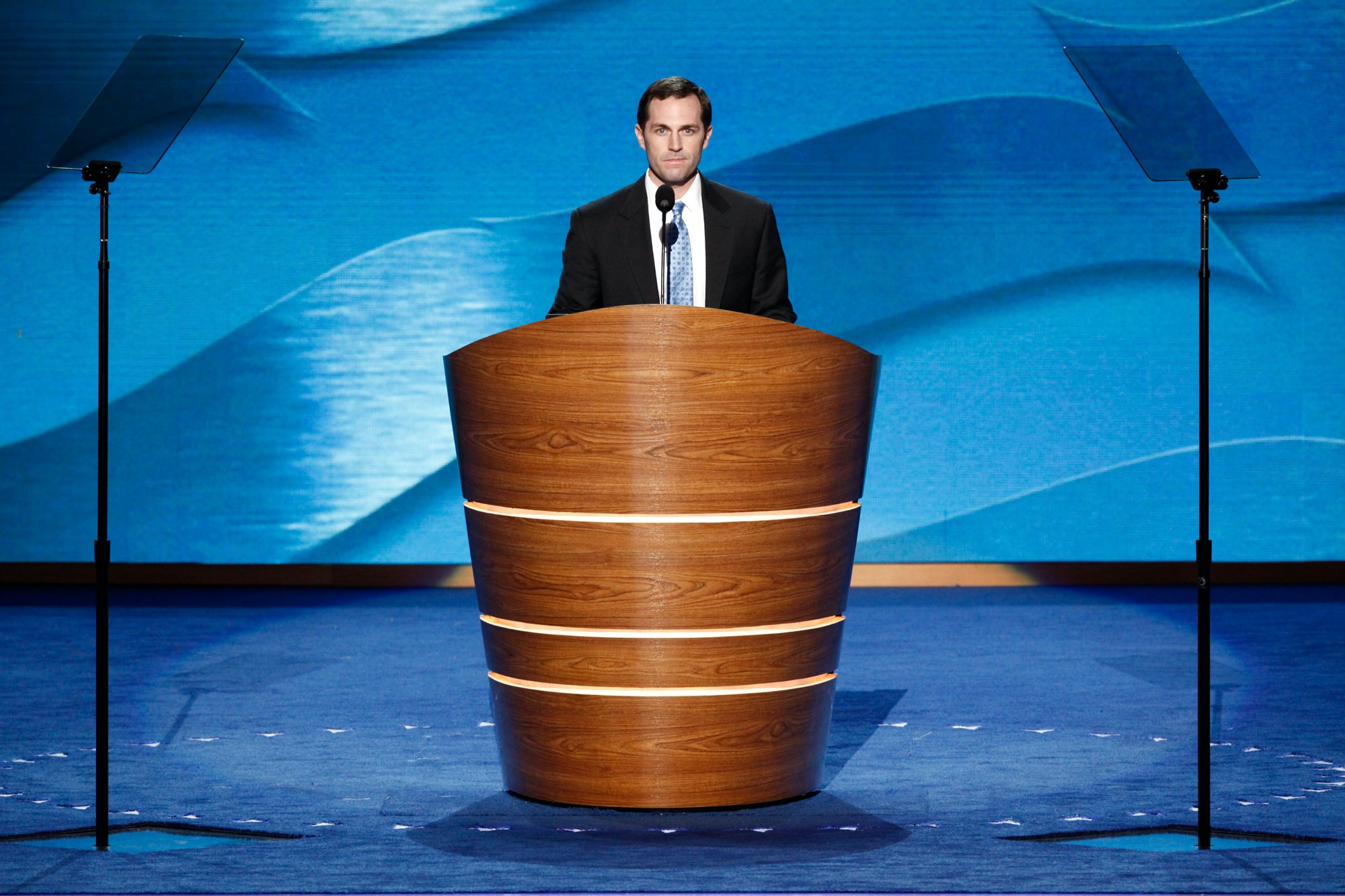 Jason Crow, a veteran and attorney, speaks during the Democratic National  Convention at the