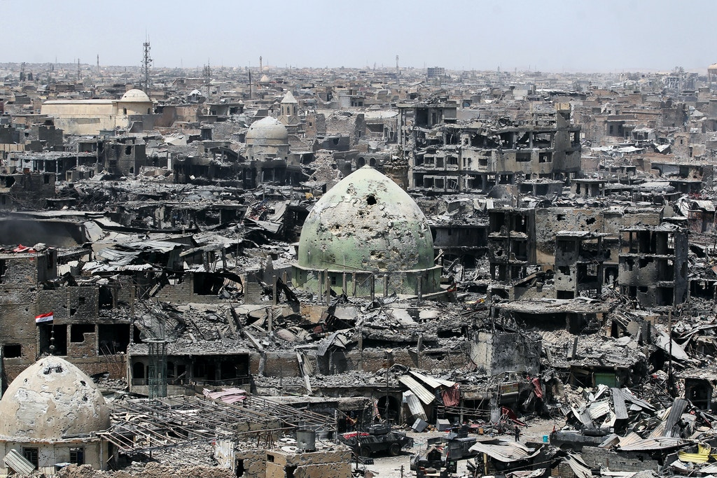 TOPSHOT - A picture taken on July 9, 2017, shows a general view of the destruction in Mosul's Old City.Iraq will announce imminently a final victory in the nearly nine-month offensive to retake Mosul from jihadists, a US general said Saturday, as celebrations broke out among police forces in the city. / AFP PHOTO / AHMAD AL-RUBAYE (Photo credit should read AHMAD AL-RUBAYE/AFP/Getty Images)