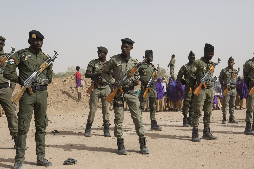 Police officers stand guard during an official ceremony in Agadez, Niger, January 15, 2018.