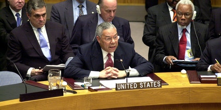 UNITED STATES - FEBRUARY 05:  Secretary of State Colin Powell addresses the United Nations Security Council. Wielding dramatic satellite photos and intelligence intercepts, he cited