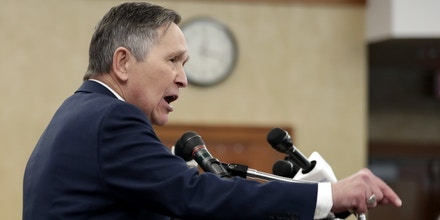Former U.S. Rep. Dennis Kucinich speaks during a news conference announcing his run for Ohio governor, Wednesday, Jan. 17, 2018, in Middleburg Heights, Ohio. Kucinich said he would muster state resources to fight poverty and violence, boost arts and education and expand economic opportunity. (AP Photo/Tony Dejak)