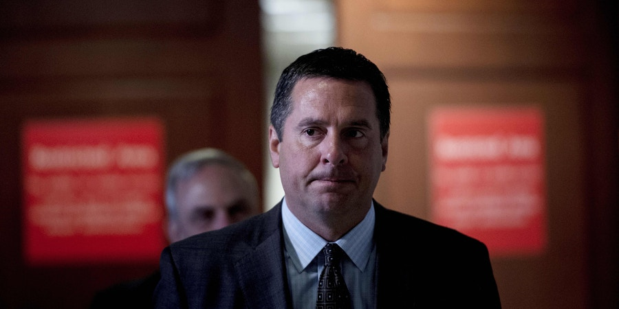 Rep. Devin Nunes (R-CA) leaves while Senior Advisor Jared Kushner leaves meets with the House Intelligence Committee on Capitol Hill July 25, 2017 in Washington, DC. / AFP PHOTO / Brendan Smialowski        (Photo credit should read BRENDAN SMIALOWSKI/AFP/Getty Images)