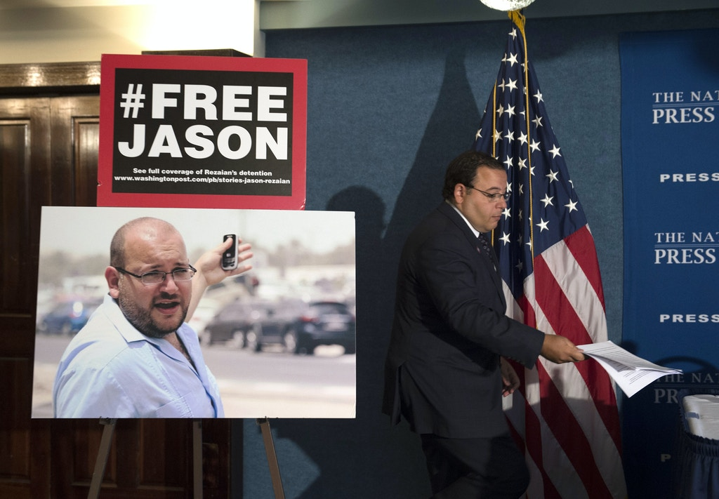 Ali Rezaian, brother of Jason Rezaian, The Washington Post's Tehran Bureau Chief who is currently in Evin Prison in Iran, arrives at a news conference at the National Press Club to give an update on the case in Washington, Wednesday, July 22, 2015. The Washington Post, stymied in its efforts to win the release of journalist Rezaian from Iran, has filed an urgent petition asking help from a United Nations agency. Rezaian was arrested over a year ago and has been held for months without charges in Iran's Evin Prison. (AP Photo/Molly Riley)