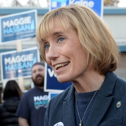 CONCORD, NH - NOVEMBER 08: U.S. Senate nominee Maggie Hassan (D-NH) greet supporters outside the Boys & Girls Club on November 8, 2016 in Concord, New Hampshire. Hassan has been in a close race with Sen. Kelly Ayotte (R-NH) for an important Senate seat. (Photo by Darren McCollester/Getty Images)
