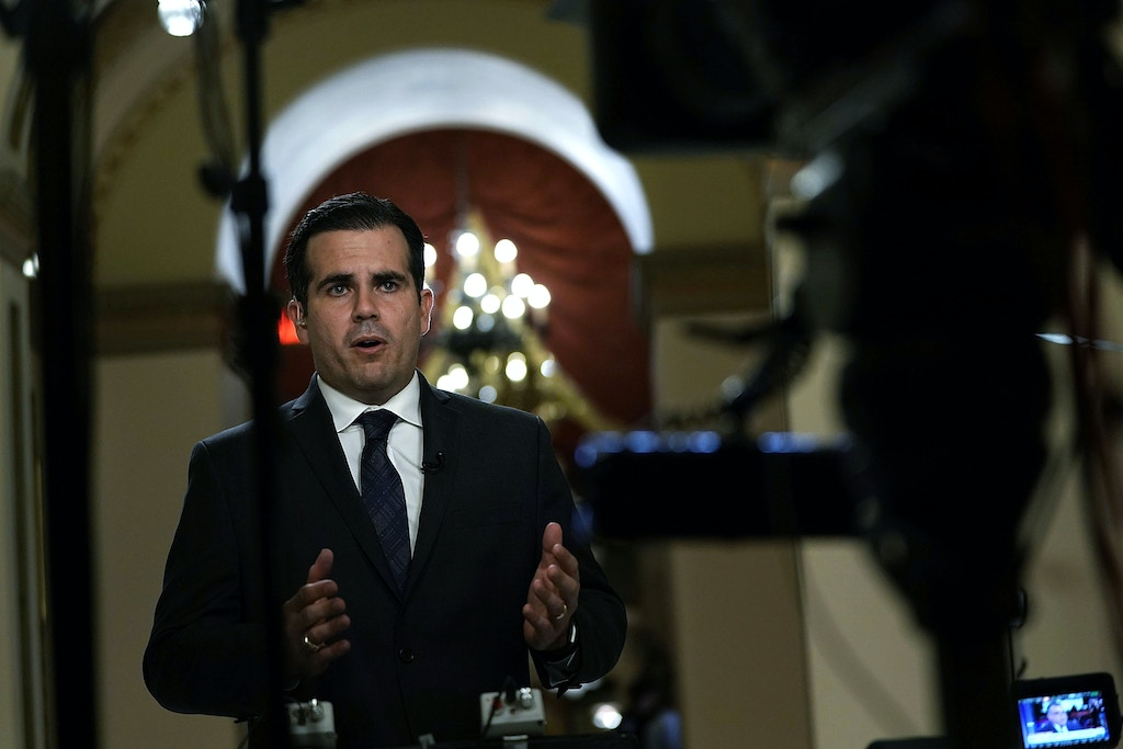 WASHINGTON, DC - DECEMBER 21:  Puerto Rican Gov. Ricardo Rossello is interviewed by a TV channel after a House vote at the Capitol December 21, 2017 in Washington, DC. The House has passed a $81 billion emergency aid bill to help Texas, Florida, Puerto Rico and California  to rebuild after natural disasters this year.  (Photo by Alex Wong/Getty Images)