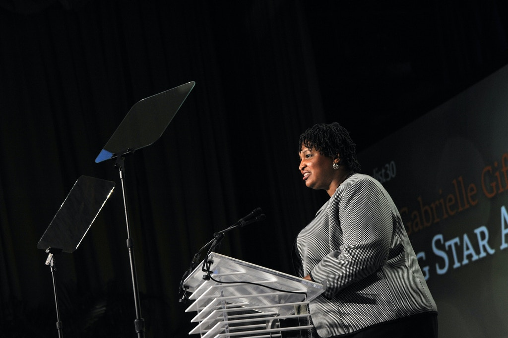 WASHINGTON, DC - MARCH 03:  Georgia House Minority Leader Stacey Abrams speaks at EMILY's List 30th Anniversary Gala at Washington Hilton on March 3, 2015 in Washington, DC.  (Photo by Kris Connor/Getty Images for EMILY's List)