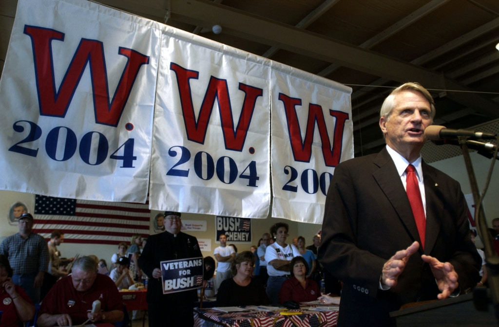 PENSACOLA, FL - NOVEMBER 1:  U.S. Senator Zell Miller (D-GA) speaks to supporters of U.S. President George W. Bush during a rally at the Escambia County Republican Headquarters November 1, 2004 in Pensacola, Florida. About 100 people attended the rally on the eve of Election Day to hear Miller blast Democratic presidential nominee U.S. Sen. John Kerry (D-MA) on his foreign and domestic policies.  (Photo by Stephen Morton/Getty Images)