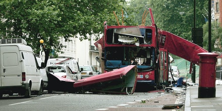 A front view of the bus which was destroyed by a bomb in London on Thursday, is seen  Friday July 8 2005. Commuters in London reluctantly descended into the Underground on Friday morning, attempting to return to routine in the aftermath of four rush-hour blasts that killed at least 50 people Thursday. Police said the attacks had the signatures of the al-Qaida terror network.  (AP Photo / Dylan Martinez,  Pool)