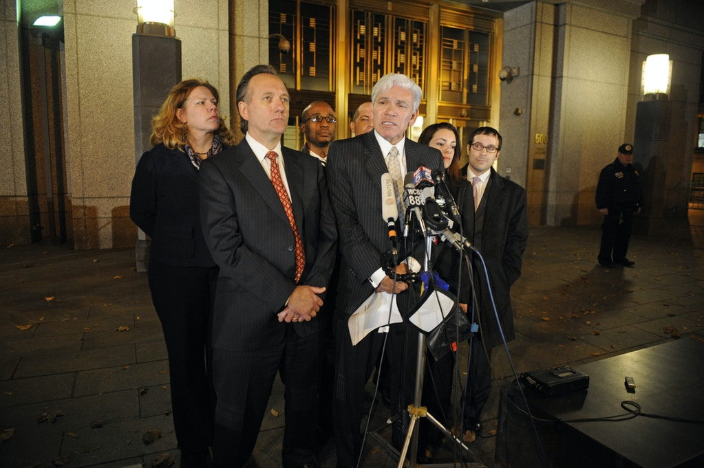 Attorneys Peter Quijano, right, and Steve Zissou address the media after their client, Ahmed Ghailani, the first Guantanamo detainee to face a civilian trial, was acquitted of all but one charge accusing him of a deadly 1998 plot to bomb two U.S. embassies in Africa, Wednesday, Nov. 17, 2010 in New York. (AP Photo/Henny Ray Abrams)