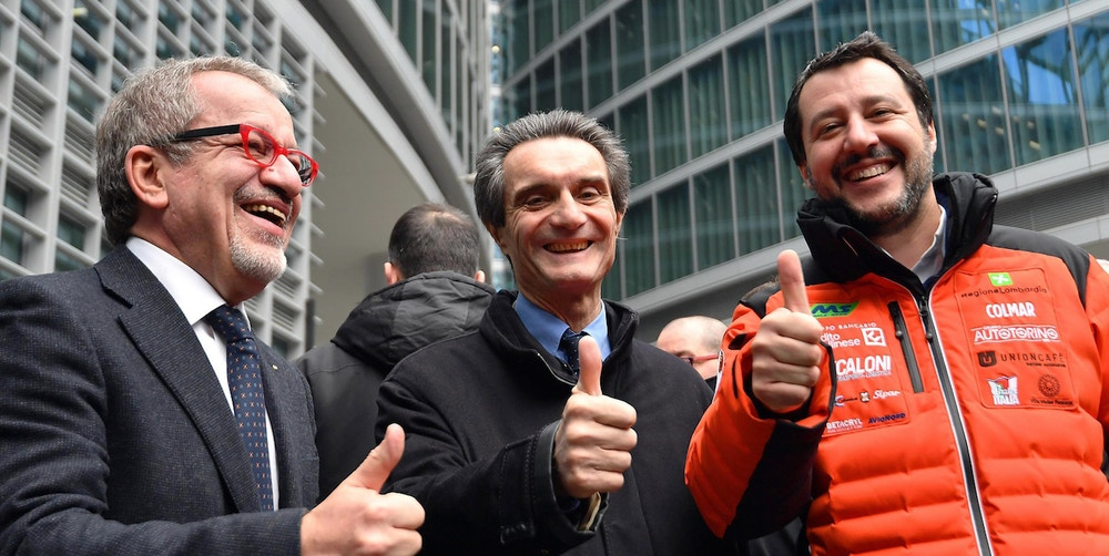 "(L-R) Outgoing Lombardy Governor, Roberto Maroni, the new Lombardy Governor, Attilio Fontana, and League leader, Matteo Salvini, make a thumb up as they address the media in Milan, Italy, 06 March 2018. Salvini said Tuesday he was ""not budging"" as the centre right's premier candidate having scored higher than Silvio Berlusconi in Sunday's general election. ANSA/DANIEL DAL ZENNARO"