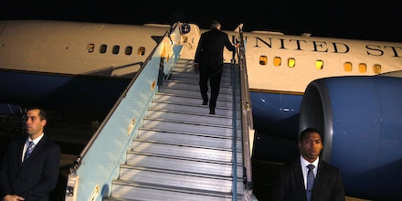 US Secretary of State Rex Tillerson boards his plane to depart from Abuja, in Abuja, on March 12, 2018 at the end of a five-country swing through Africa. US President on March 13 sacked his top diplomat Rex Tillerson and named current CIA chief to succeed him, ending a rocky tenure by the Texas oilman who had been sidelined on the world stage by the mercurial president. / AFP PHOTO / POOL / JONATHAN ERNST (Photo credit should read JONATHAN ERNST/AFP/Getty Images)