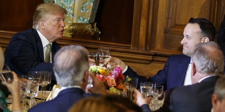 President Donald Trump toasts with Irish Prime Minister Leo Varadkar during a luncheon on Capitol Hill, Thursday, March 15, 2018, in Washington. (AP Photo/Evan Vucci)