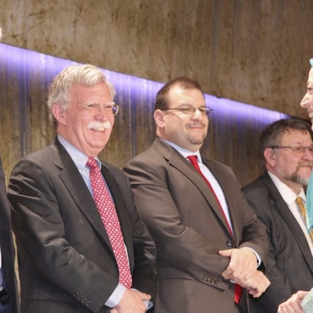 Pandeli Majko, Former Prime Minister of Albania, John Bolton, Former United States Ambassador to the United Nations, Deputy Chief of U.S. Mission David Muniz, Maryam Rajavi, President elect of the Iranians Resistance, Tirana, Albania 20/03/2017 - Maryam Rajavi addressed her greeting at Nowruz celebration, the Iranian New Year, which was held at Tirana Albania with PMOI members and guests from Albania, France and United States. Maryam Rajavi said, This Nowruz harbingers end of religious dictatorship and advent of the spring of freedom. (Photo by Siavosh Hosseini/NurPhoto) *** Please Use Credit from Credit Field ***(Sipa via AP Images)