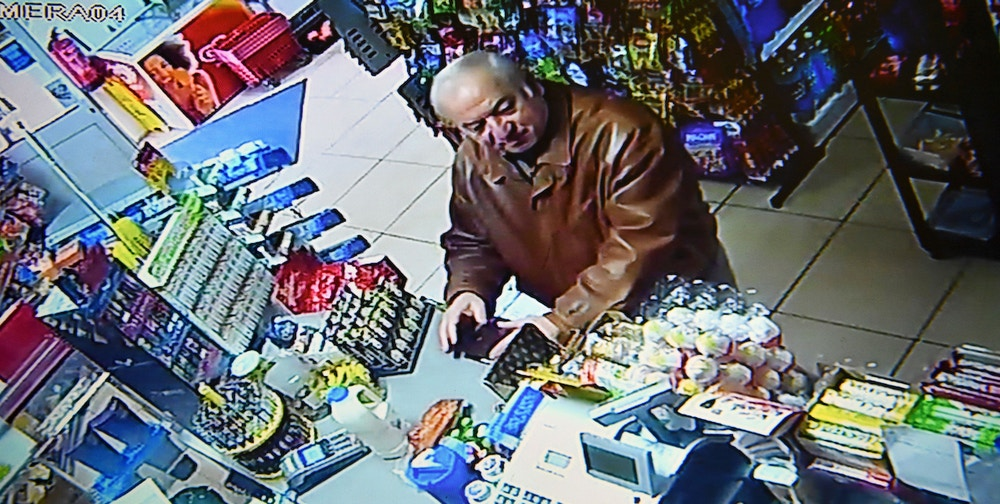 "A still image from CCTV footage recorded on February 27, 2018 shows former Russian spy Sergei Skripal buying groceries at the Bargain Stop convenience store in Salisbury on February 27, 2018.<br /><br /> British detectives on March 8 scrambled to find the source of the nerve agent used in the ""brazen and reckless"" attempted murder of a Russian former double-agent and his daughter. Sergei Skripal, 66, who moved to Britain in a 2010 spy swap, is unconscious in a critical but stable condition in hospital along with his daughter Yulia after they collapsed on a bench outside a shopping centre on Sunday.<br /><br />  / AFP PHOTO / -        (Photo credit should read -/AFP/Getty Images)"