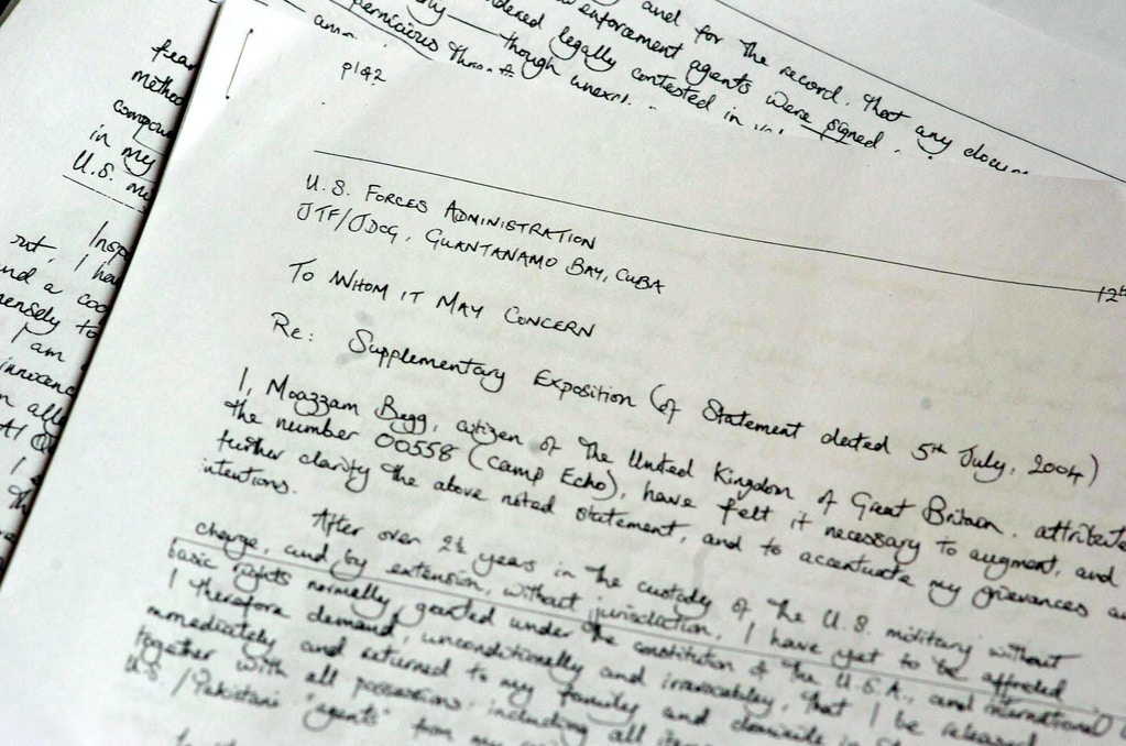 A photocopy of a letter from British Guantánamo Bay detainee Moazzam Begg, shown during a press conference in central London in 2004. (AP Photo/ Johnny Green, PA)