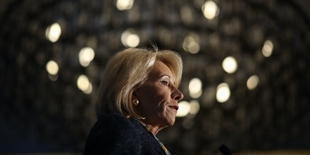 ARLINGTON, VA - MARCH 13:  U.S. Education Secretary Betsy DeVos speaks at the National Parent-Teacher Association's 2018 Legislative Conference March 13, 2018 in Arlington, Virginia. DeVos spoke on the administration's plan