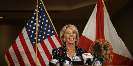 CORAL SPRINGS, FL - MARCH 07:  U.S. Education Secretary Betsy DeVos speaks to the news during a press conference held at the Heron Bay Marriott about her visit to Marjory Stoneman Douglas High School in Parkland on March 7, 2018 in Coral Springs, Florida.  DeVos was visiting the high school following the February 14 shooting that killed 17 people.  (Photo by Joe Raedle/Getty Images)