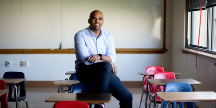 DALLAS, TEXAS- JUNE 21: Colin Allred photographed at Hillcrest High School in Dallas, Texas. Allred is running for the 32nd Congressional District seat. (Photo by Allison V. Smith for The Washington Post via Getty Images)