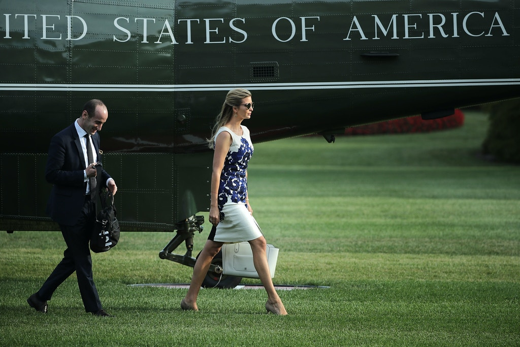 WASHINGTON, DC - AUGUST 30:  Senior Advisor to the President Stephen Miller (L) and Ivanka Trump, advisor and daughter of U.S. President Donald Trump, walk across the South Lawn after returning to the White House August 30, 2017 in Washington, DC. President Trump traveled to Springfield, Missouri, to participate in a tax reform kickoff event, according to the White House.  (Photo by Chip Somodevilla/Getty Images)