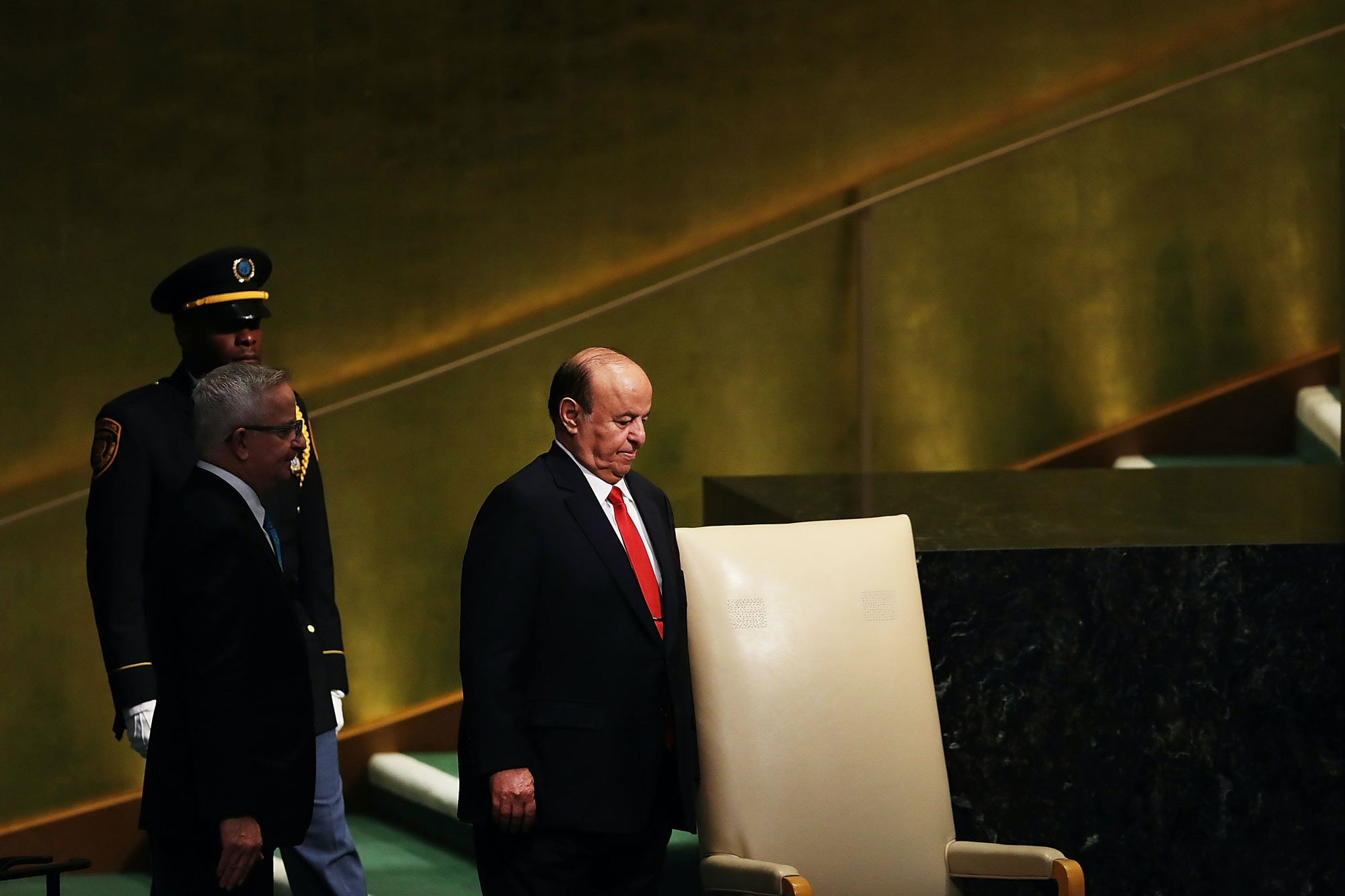 NEW YORK, NY - SEPTEMBER 21:  Yemen President Abd-Rabbu Mansour Hadi prepares to speak to world leaders at the 72nd United Nations (UN) General Assembly at UN headquarters on September 21, 2017 in New York City. Topics to be discussed at this year's gathering include Iran, North Korea and global warming.  (Photo by Spencer Platt/Getty Images)