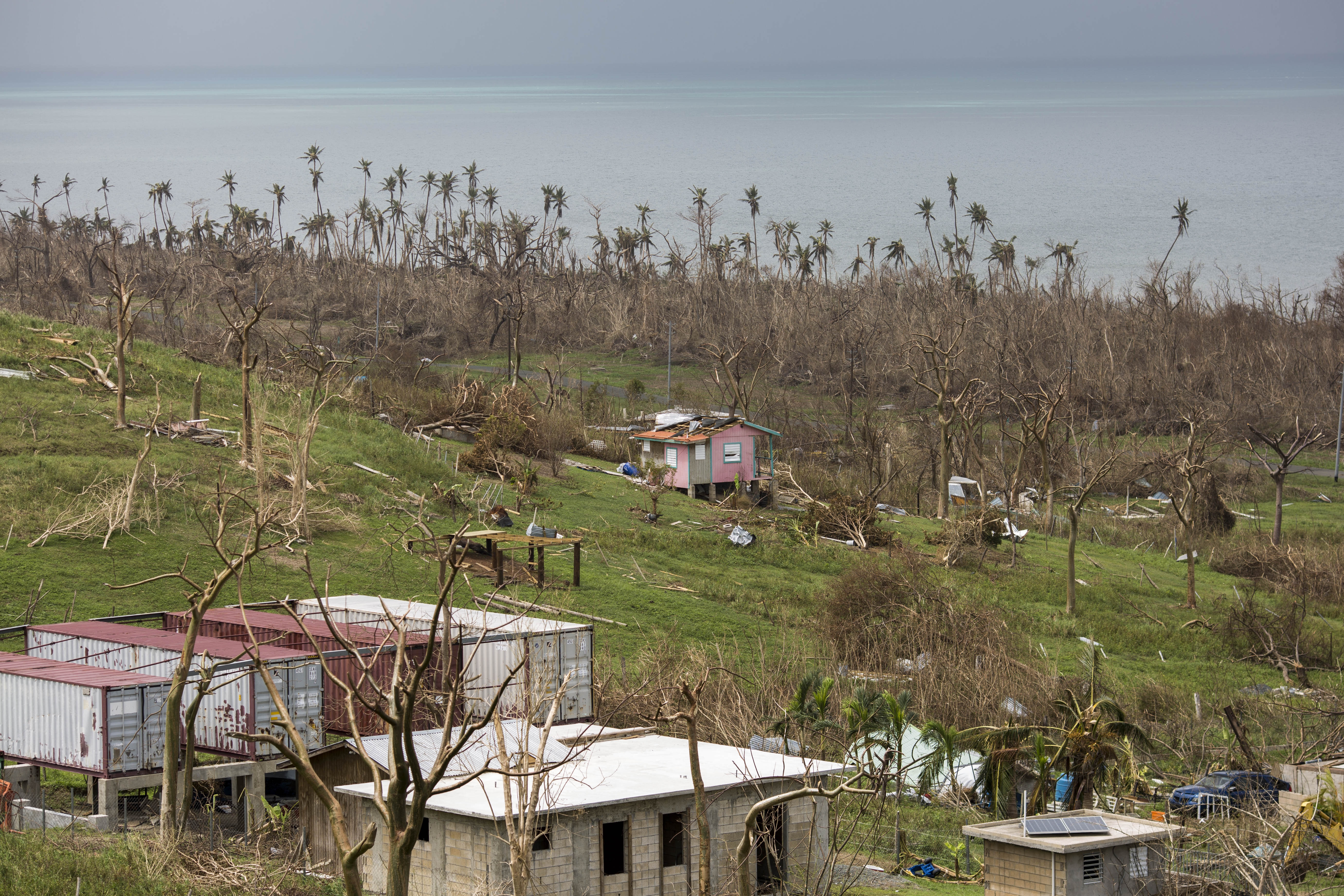 VIEQUES PUERTO RICO  SEPTEMBER 25: The island of Vieques, in the east side of the island, got affected by strong winds produced by Hurricane Maria. More than a week after the event, recovery is slow. Hurricane Maria passed through Puerto Rico leaving behind a path of destruction across the national territory. (Photo by Dennis M. Rivera Pichardo for The Washington Post via Getty Images)
