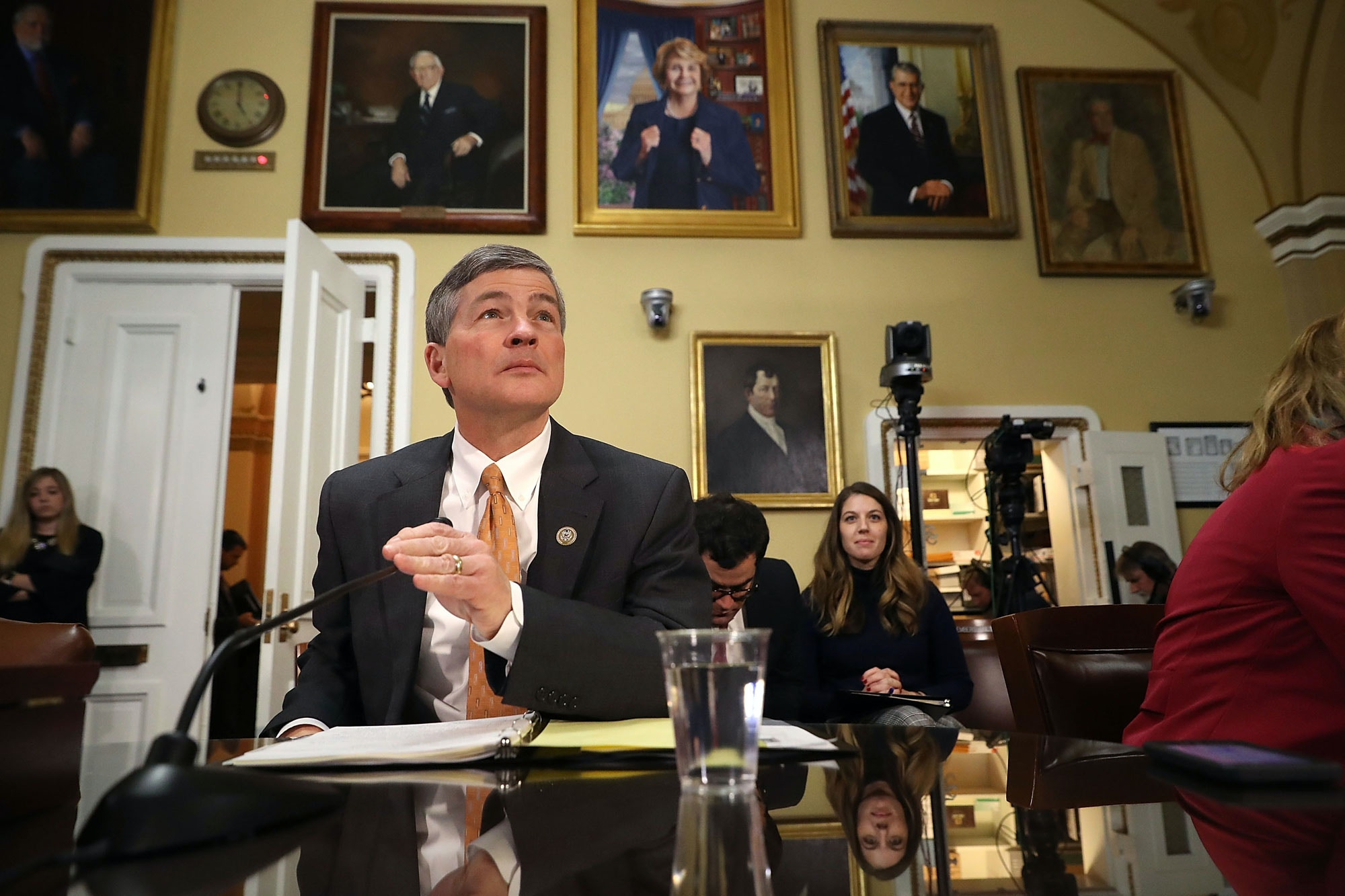 WASHINGTON, DC - DECEMBER 18:  House Finance Committee Chairman Jeb Hensarling (R-TX) prepares to testify before the House Rules Committee at the U.S. Capitol December 18, 2017 in Washington, DC. The committee will hold a hearing on the rules governing debate on the tax bill, which the House of Representativs is expected to vote on Tuesday.  (Photo by Chip Somodevilla/Getty Images)