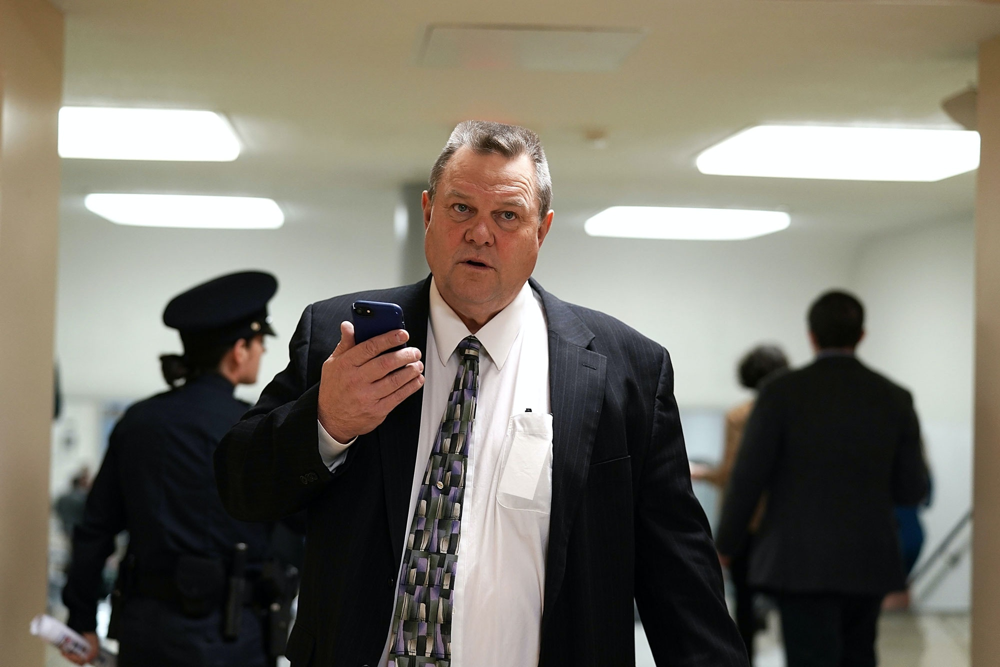 WASHINGTON, DC - JANUARY 17:  U.S. Sen. Jon Tester (D-MT) passes through the basement of the U.S. Capitol prior to a Senate Democratic Policy Luncheon January 17, 2018 in Washington, DC. Senate Democrats held the weekly luncheon to discuss Democratic agenda.  (Photo by Alex Wong/Getty Images)