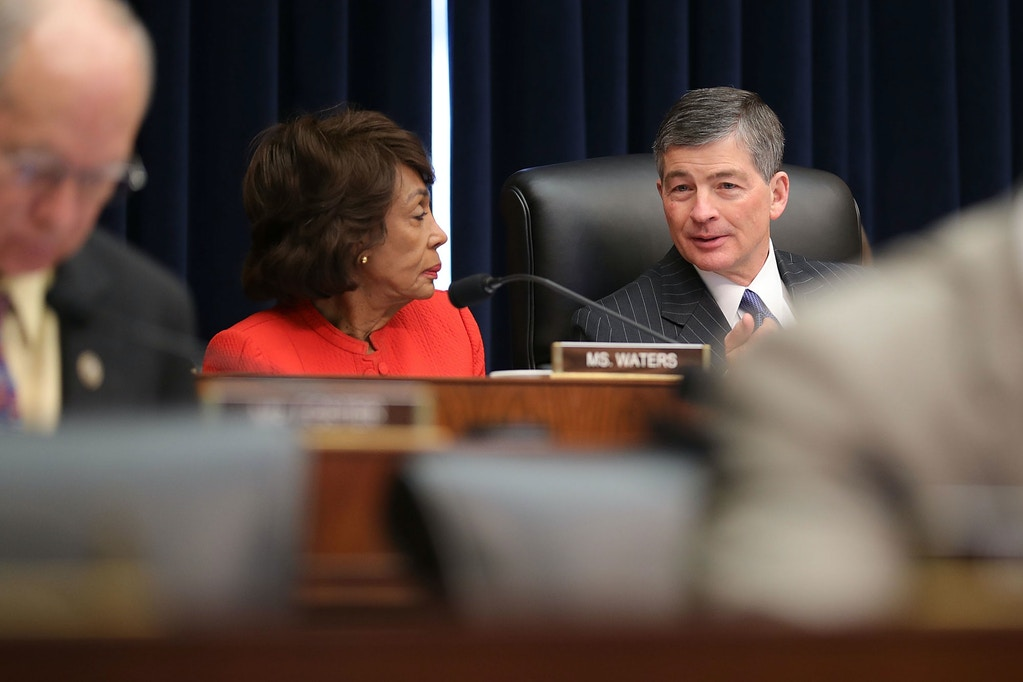 WASHINGTON, DC - FEBRUARY 06:  House Financial Services Committee ranking member Rep. Maxine Waters (D-CA) (L) and Chairman Jeb Hensarling (R-TX) talk during hearing with Treasury Secretary Steven Mnuchin about 'The Annual Report of the Financial Stability Oversight Council' in the Rayburn House Office Building on Capitol Hill February 6, 2018 in Washington, DC. After two days of historic losses in the stock markets, Mnuchin said, 'I'm not concerned about market volatility. The fundamentals are quite strong.'  (Photo by Chip Somodevilla/Getty Images)