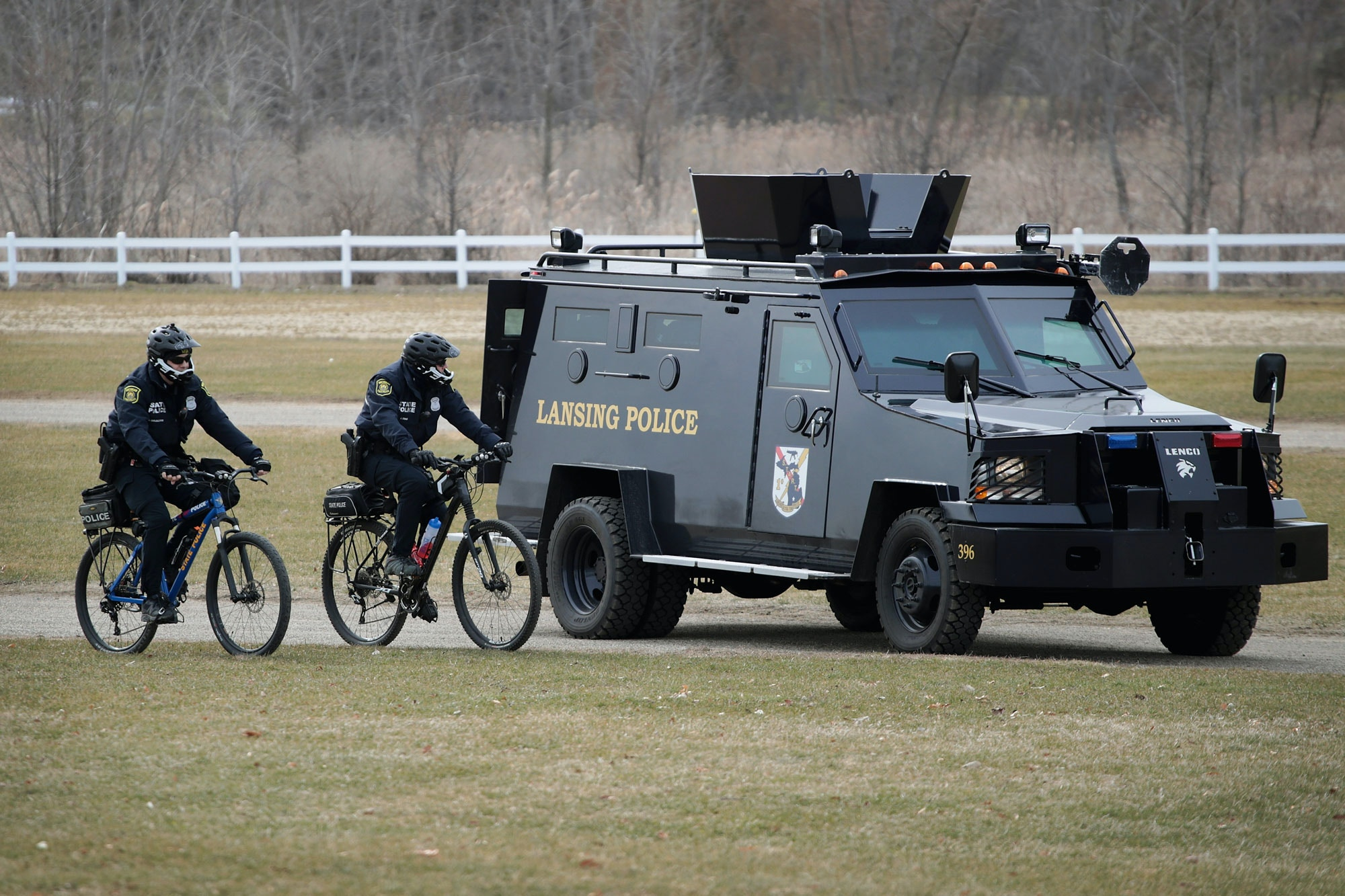 EAST LANSING, MI - MARCH 05:  Police watch as demonstrators at Michigan State University protest a speech by white nationalist Richard Spencer, who popularized the term 'alt-right', on March 5, 2018 in East Lansing, Michigan. Spencer was granted permission to speak after suing the university which is currently on spring break.  (Photo by Scott Olson/Getty Images)